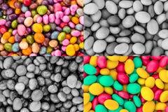 Fyrkantig uppsättning glasad grund för bakgrund för kontrast för grå sektor för godis färgrik kontrasterad tonad grön rosa gul arkivfoto