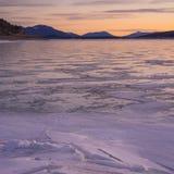 Fyrkantiga Abraham Lake Sunrise Landscape Royaltyfria Foton