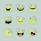 Fyrkantiga emoticons royaltyfri illustrationer