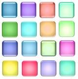 Fyrkantiga exponeringsglasknappar för blått och för gräsplan Royaltyfria Foton