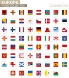 Fyrkantiga flaggor av Europa Från Albanien till Wales stock illustrationer