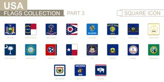 Fyrkantiga flaggor av USA-stater Del 3 från New York till Wyoming royaltyfri illustrationer