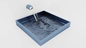 Fyrkantiga Grey Blue Tank den påfyllning av vatten lager videofilmer