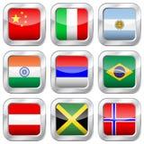 Fyrkantiga nationsflaggor för metall Arkivfoto