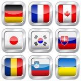 Fyrkantiga nationsflaggor för metall Fotografering för Bildbyråer