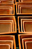 Fyrkantiga Terra Cotta Pots Royaltyfri Foto