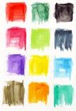 Fyrkantiga vattenfärger Arkivbild
