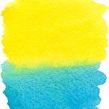 Fyrkantigare bakgrund för gul och blå vattenfärg Arkivbild