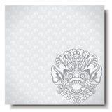 Fyrkantigt baner med det Barong huvudet Traditionell prydnad för Balinese Försilvra bakgrund royaltyfri illustrationer
