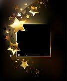 Fyrkantigt baner med guld- stjärnor royaltyfri illustrationer