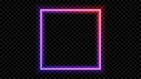 Fyrkantigt purpurfärgat och rött neonljus på en genomskinlig bakgrund Neonram för din design också vektor för coreldrawillustrati vektor illustrationer