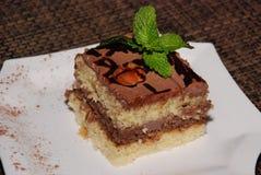 Fyrkantigt stycke av kakan med choklad och mandeln på den vita plattan arkivfoto