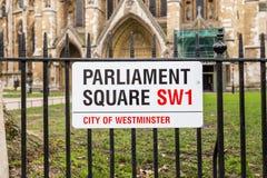Fyrkantigt tecken för parlament Arkivbilder