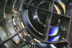 Fyrlampa med linsen som göras av glass cirklar Arkivbild