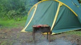 Fyrpannan är i skogen på bakgrunden av ett grönt tält, mellersta plan stock video