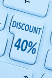 40% fyrtio procent shopping för försäljning för rabattknappkupong online-in Fotografering för Bildbyråer