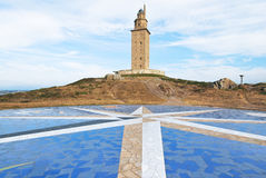 Fyrtorn av Hercules, La Coruna, Galicia Royaltyfria Bilder