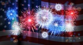 Fyrverkeri över Amerikas förenta stater för beröm för nationell ferie för USA flaggabakgrund royaltyfri illustrationer