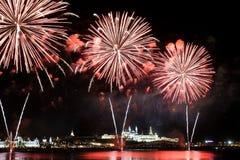 Fyrverkeri över Kreml i Ryssland Royaltyfri Fotografi