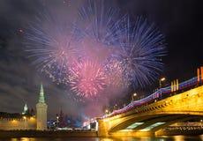Fyrverkeri över Moskva. Ryssland Arkivfoton