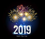 Fyrverkeri 2019 för lyckligt nytt år vektor illustrationer