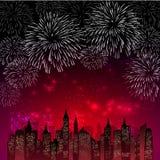 Fyrverkeri för nytt år och all berömvektorillustration stock illustrationer