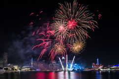 Fyrverkeri för ` s Singapore för nationell dag Royaltyfri Bild