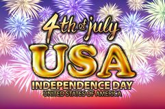 4 fyrverkeri för vektor för ballong för juli USA självständighetsdagen guld- Arkivbilder