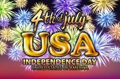 4 fyrverkeri för vektor för ballong för juli USA självständighetsdagen guld- Arkivfoto