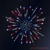 Fyrverkeri i färgerna av amerikanska flaggan stock illustrationer