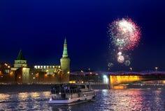 Fyrverkeri i Moskva, Ryssland Arkivfoto