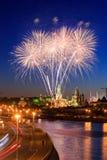 fyrverkeri kremlin moscow nära Royaltyfria Foton