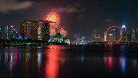 Fyrverkeri på nationell dag, Singapore, en mordern stad royaltyfria bilder