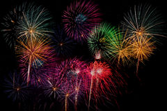 Fyrverkeriberöm på natten på utrymme för nytt år och kopierings- abs Royaltyfri Bild