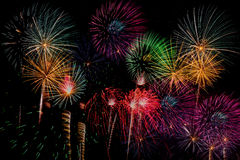 Fyrverkeriberöm på natten på utrymme för nytt år och kopierings- abs Fotografering för Bildbyråer