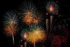 Fyrverkeriberöm på natten på utrymme för nytt år och kopierings- abs Royaltyfria Foton