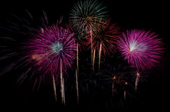 Fyrverkeriberöm på natten på utrymme för nytt år och kopierings- abs Royaltyfri Fotografi