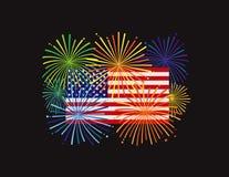 Fyrverkerier över illustration för BG för USA amerikanska flaggansvart royaltyfri illustrationer