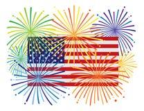Fyrverkerier över illustration för USA amerikanska flagganvektor vektor illustrationer