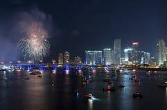 Fyrverkerier över Miami Royaltyfria Foton