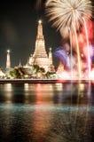 Fyrverkerier Bangkok för nytt år Royaltyfri Bild