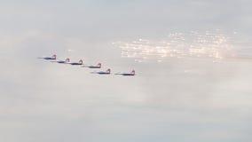 Fyrverkerier för lansering MiG-29 Arkivfoto
