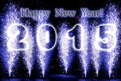 Fyrverkerier för lyckligt nytt år 2015 Arkivfoto