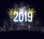 Fyrverkerier för lyckligt nytt år 2019 ferie bakgrundsdesign vektor illustrationer