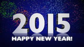 Fyrverkerier för nytt år 2015 Royaltyfri Fotografi