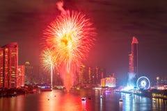 Fyrverkerier för nytt år i Bangkok, Thailand Arkivfoton