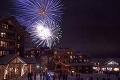Fyrverkerier för nytt år på snön arkivfoton