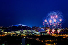 Fyrverkerier för Singapore sportnav Royaltyfria Foton