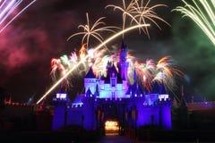 Fyrverkerier HK Disneyland arkivbild