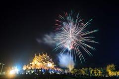 Fyrverkerier i Chiangmai Royaltyfri Fotografi